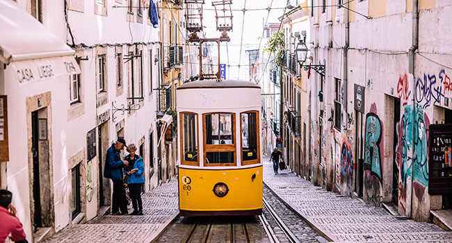 One of Lisbon's trams you can catch to get to the Belem District